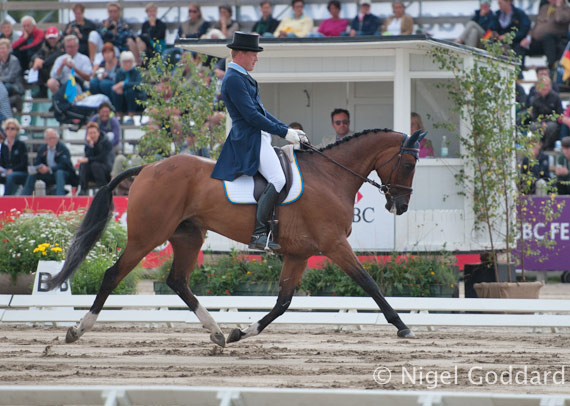Sweden's Niklas Lindback and Mister Pooh are in second place after the first day of dressage.