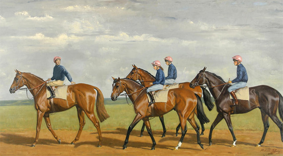 Detail from Michael Jeffery's 2006 work The Pink'uns - colts at exercise, Newmarket.
