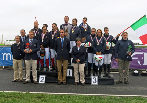 On the podium for the European and Open Team category at the FEI Open European Endurance Championships 2013 in Most: Gold - France: Franes Jean philippe, Tomas Philippe and Theolissat Melody; Silver - Spain: Punti Dachs Jaume, Muixi Crusellas Laia and Cervera Sanchez-Arnedo Javier; Bronze - Italy: Serioli Daniele, Serioli Melania and Di Battista Carlo.