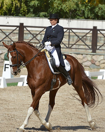 Kazakhstan's Natalya Yurkevich and Donpetro HL won both the Grand Prix Special and Freestyle gold at the FEI Central Asia Dressage Championships 2013.  © FEI/KAZ NF