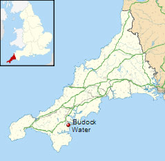 Location of Budock Water in Cornwall.