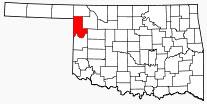 Location of Ellis County in Oklahoma.
