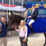 Greg Broderick and the Irish-bred Arraghbeg Clover (ISH) who were crowned Five Year-Old World Champions at the World Breeding Championships in Lanaken, Belgium, on Sunday. Also pictured is owner Declan Orphen and yard head groom Ashleigh Skillin.