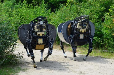 Dynamic duo: A pair of LS3 robots strut their stuff. Photo: Boston Dynamics