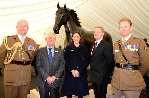 At the unveiling: From left, Colonel Neil Smith RAVC, Professor Emeritus Peter Lees, sculptor Camilla Le May, Professor Stuart Reid, and Lieutenant-Colonel Paul Bedford.