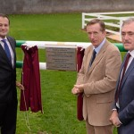 Minister for Transport, Tourism and Sport Leo Varadkar T.D. who officially opened the National Horse Sport Arena at the National Sports Campus in Blanchardstown with Prof. Pat Wall, Chairman of Horse Sport Ireland, and Sean Benton, Chairman NSCDA. National Sports Complex, Abbottstown, Co. Dublin.