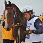 US endurance rider John Crandell, pictured during a vet check at the 2011 Pan American Championships.
