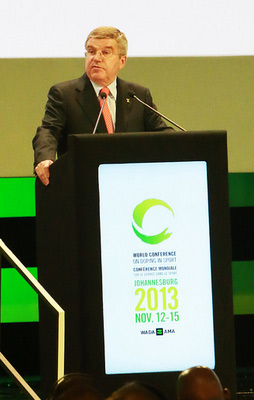 IOC President Thomas Bach speaks at the World Anti-Doping Agency's 2013 World Conference on Doping in Sport.