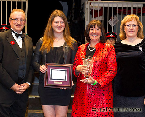 "Jump Canada named the Ziegler family of Artisan Farms its ""Owner of the Year"" for 2013 during a special ceremony at the Royal Horse Show in Toronto, ON, on November 6. Pictured (L-R) Jump Canada Chair John Taylor, Caitlin and Carlene Zeigler, Karen Hendry-Ouellette, Manager of Sport - Jumping Department, Equine Canada."