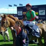Jockey Johnny Murtagh and Dancing Rain return to winner's enclosure after winning the Oaks at Epsom in June 2011.