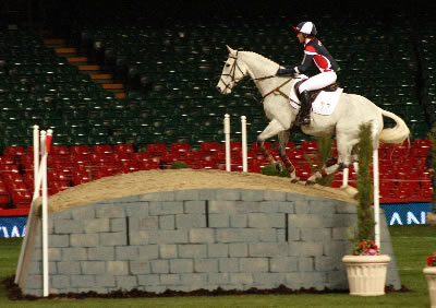 Caroline Powell and Lenamore tackle the bank during one of the first Express Eventing competitions, in Cardiff in 2008.