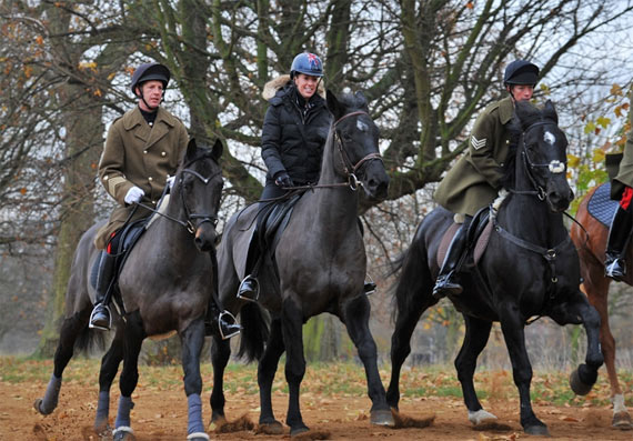 Charlotte Dujardin rides out with the Household Cavalry in London's Hyde Park.