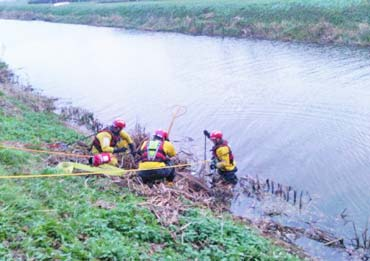 Firefighters work on last Friday's cow rescue. Photo: Cambridgeshire Fire & Rescue