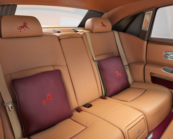 Interior detailing on the Rolls Royce Majestic Horse Collection.