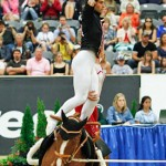 The gold-medal winning US vaulting team in action at WEG 2010 in Kentucky.