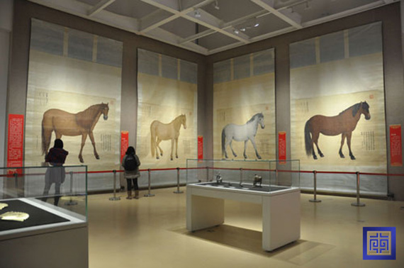 Life-size horse paintings are a highlight of the Nanjing Museum horse exhibition. Photo: Nanjing Museum