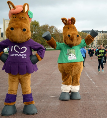 WEG 2014 mascot Norman and friend.