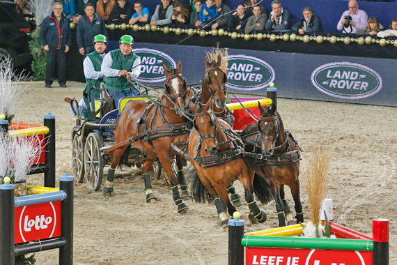 Dutch driver Theo Timmerman on his way to victory in the eighth leg of the FEI World Cup Driving series in Mechelen, Belgium.