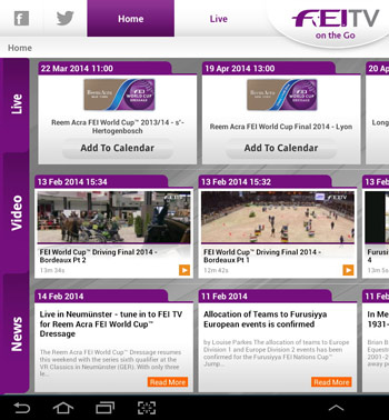 "The new ""FEI TV on the go"" app."