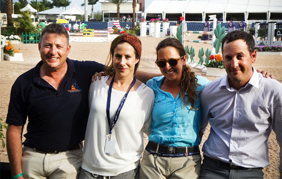 Israel's Nations Cup jumping team of Joshua Tabor, chef d'equipe Kate Levy, Danielle Goldstein, and Elad Yaniv.
