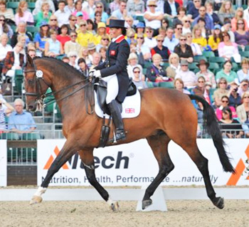 Maria Eilberg competing at the European Dressage Championships in 2009 - the last International dressage competition held at the Windsor Show Ground.