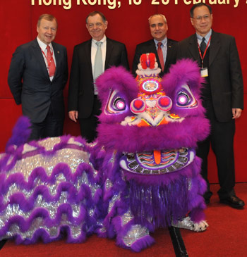 From left, HKJC CEO and IFAH vice-chairman Winfried Engelbrecht-Bresges, with OIE Director GeneralDr Bernard Vallat, FEI Secretary General Ingmar De Vos, and  and Chi Kong Alan Wong, Director of the Agriculture, Fisheries and Conservation Department of the Government of Hong Kong at the opening of the workshop.