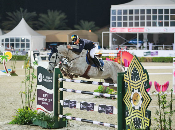 Ulrich Kirchhoff and Chaccland, anchor partnership for the Ukrainian team that won the opening leg of the Furusiyya FEI Nations Cup Jumping 2014 series at Al Ain, UAE, on Thursday.