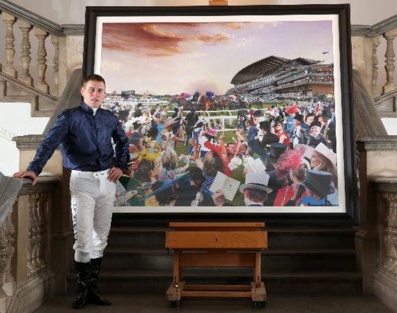 Jockey Johnny Murtagh ith the David Mach collage 'The Great British Drama' at the Royal Academy of Arts in London, England. The artwork, which was commissioned to celebrate Royal Ascot 2014, is made up of more than 200 images from the historic race meeting, bringing to life many of its remarkable stories.