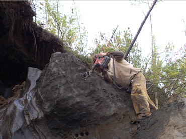 A permafrost core sample is taken. Photo: Eske Willerslev