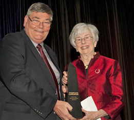 Faith Berghuis received the Lifetime Achievement Award from Equine Canada President Michael Gallagher.