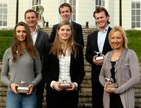 Award winners (back L-R) Roland Tong, Bertram Allen, Cameron Hanley, (front, L-E) Susan Fitzpatrick, Elizabeth Hayden and Aoife Clark at The K Club.