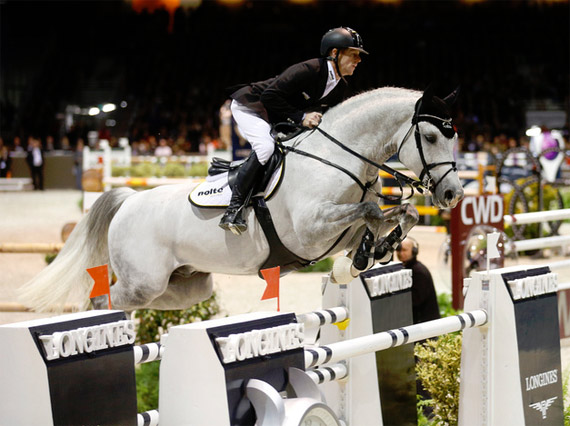Marcus Ehning and Cornado NRW on their way to winning in Bordeaux.