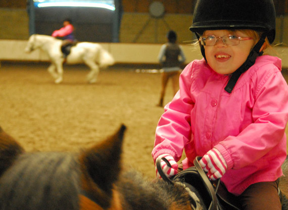 Seven-year-old Robyn at the Docklands Equestrian Center.