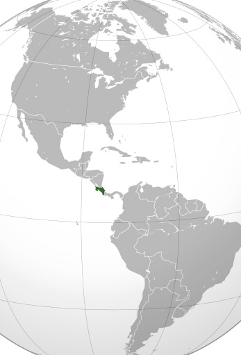 Location of Costa Rica in Central America.