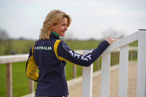 Australian eventer Lucinda Fredericks tries out the new Ariat team wear.