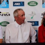 Dressage horse of the year title winner Bill Noble, centre, is flanked by eventing winner Clarke Johnstone, and jumping champion Katie McVean at the show's final press conference.