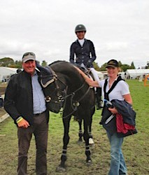 Dave and Bridget Sutton from Henton Hanoverians, breeders of Henton After Dark, with Sam Felton.