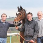 From left, James Simpson-Daniel, Michael Scuamore and Mike Tindall with Monbeg Dude.