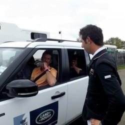 Clarke Johnstone greets Mark Todd