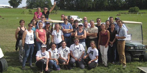The voluntary vet team for the test event in June 2013.