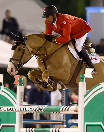 Yann Candele and Showgirl jumped double clear to secure victory for Canada in the $75,000 Furusiyya Nations' Cup in Wellington on Friday night.