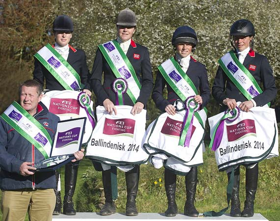 Great Britain's team manager Philip Surl, left, with his winning team of (L-R) Nicky Roncoroni, Lucy Wiegersma, Rosalind Canter and Izzy Taylor after winning the second leg of FEI Nations Cup Eventing 2014 at Ballindenisk.