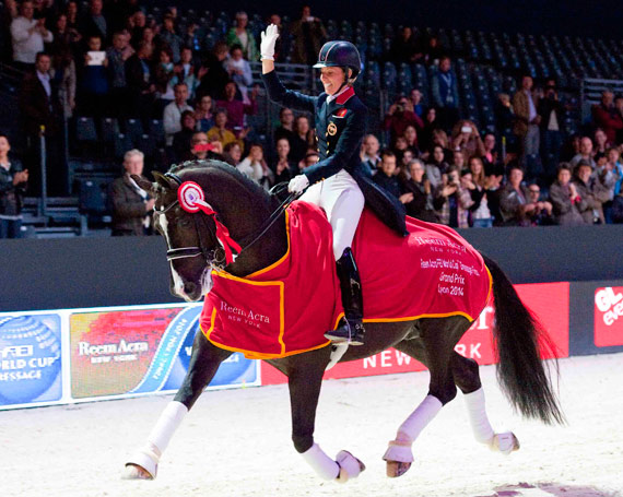 Reem Acra World Cup Dressage Final winners Charlotte Dujardin and Valegro.
