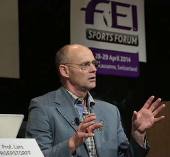 Professor Lars Roepstorff, Professor of Equine Functional Anatomy from the Swedish University of Agricultural Sciences, was the keynote speaker during the Footing Project session. © FEI/Germain Arias-Schreiber