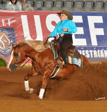 Mandy McCutchedon and Yellow Jersey, second in the Kentucky Reining Cup.
