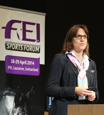 Bettina de Rham, FEI Director Driving, Reining & Vaulting opened the Vaulting Round Table of the FEI Sports Forum 2014.