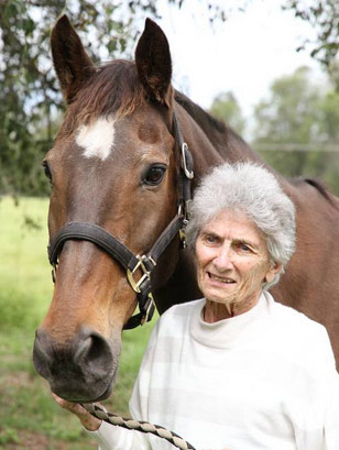 Kibah Tic Toc with his owner, the late Bridget 'Bud' Hyem, on Boxing Day, 2011.