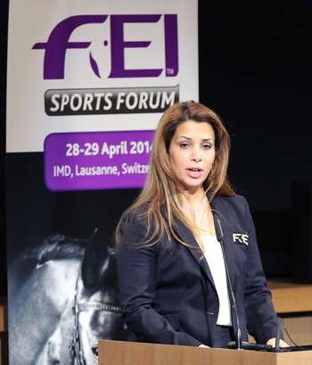 """Respect for nature has always been integral to equestrian sport through its connection to horses and the outdoors,"" FEI President Princess Haya noted during the sustainability session at the Sports Forum."
