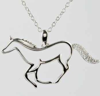 "A sterling silver horse pendant from ASPCA Tender Voices is the prize for the ""Help a Horse Day"" photo contest."