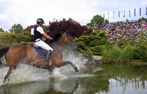 Trevor Breen and Adventure De Kannan on their way to winning the Eventing Grand Prix at Hickstead in 2012.